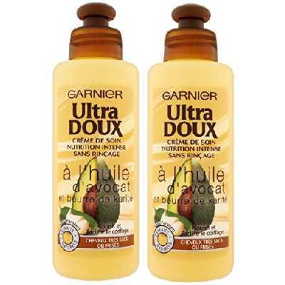 Garnier Ultra Doux À l'Huile d'Avocat et Beurre de Karité - Crème de soin sans rinçage Cheveux Très Secs ou Frisés 200 ml - Lot de 2