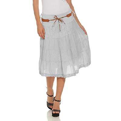 Moda Italy Mesdames jupe midi d'été jupe coton longueur genou avec ceinture volants en coton jupe jean A-line
