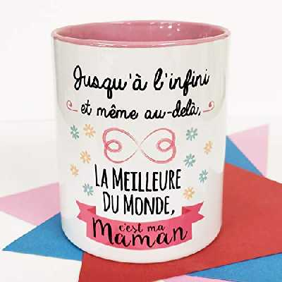 Nos pensées - Tasse avec Message et Dessin Amusant - (Jusqu'à l'Infini et même au-delà, la Meilleure du Monde, c'est ma Maman) - Cadeau Original pour Une Maman