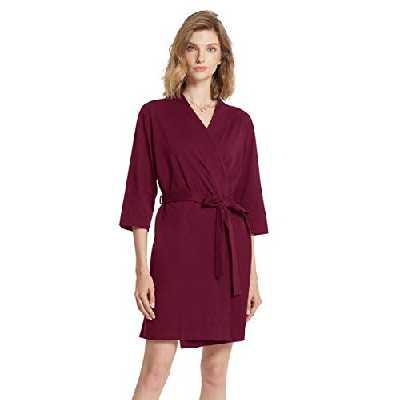 SIORO Femme Coton Peignoir Court Nuisette Confortable Col en V Robe de Chambre Pyjama Bourgogne L