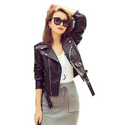 Femmes Veste en Simili Cuir Zipper Manteau Court Veste Blazer à Manches Longues L Noir