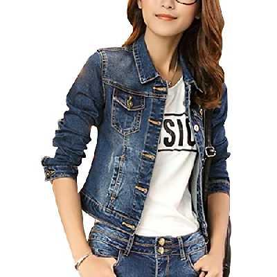 Femme Casual Slim Fit Denim Veste Manches Longues Manteau en Jean Bleu L