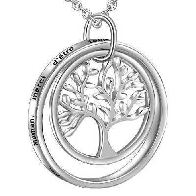 LOVORDS Collier Mère Femme Gravé en Argent 925/1000 Pendentif Anneau Cercle et Arbre de Vie Cadeau pour Maman