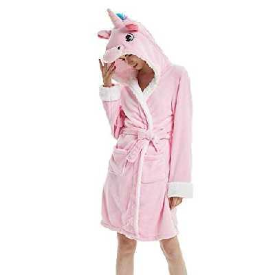 Woneart Fille Femme Peignoir de Bain avec Capuche Vêtements De Nuit Robe Déguisement Combinaison Cosplay Pyjamas Grenouillère Animaux Costumes Adultes (Large for 164cm-172cm, Pink Unicorn)