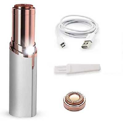 Épilateur visage de poche indolore pour femme USB + 1 tête de rechange Blanc