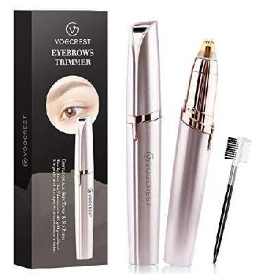 Vogcrest Epilateur Sourcil Cheveux Rasoir Brows Tondeuse sans douleur pour femme, épilation électrique des sourcils(l'or rose)