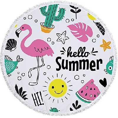 Circlbeachtowel Serviette De Plage Ronde Flamingo Et Melon d'eau Serviette éPaisse ChâLe De Serviette De Plage en Microfibre