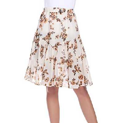 Aibrou Jupe Longue Femme Bohème Fleuri De Taille Élastique Fluide en Tull Plissée Imprimé Floral Évasée Été en Mousseline De Jupes