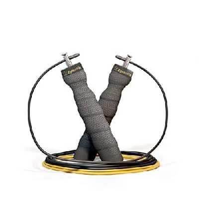ZymaFit Corde à Sauter Crossfit I Idéal pour Fitness-Boxe-Sport-MMA-Gym & Câble de Rechange Ajustable Offert | Poignées Ergonomiques | Roulement à Billes | Marque Française