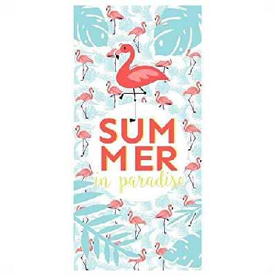 lvl25 Serviette de Plage et Piscine Flamenco Original et Amusant. Dimensions : 150 x 75 cm. Texte Summer in Paradise